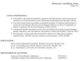 Licensed Psychologist Sample Resume Fascinating Psychology Resumes Colbroco