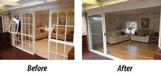3 panel aluminium stacker doors