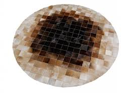 round beige and brown leather area rug in 4 inches squares squares