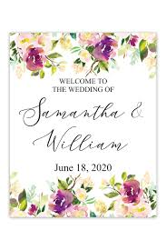 Welcome Purple Purple Floral Border Wedding Welcome Sign