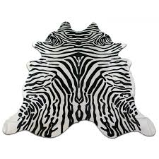 zebra cowhide rug size 7 6 x 7 genuine zebra print brazil cow hide