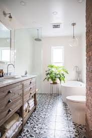 Modern farmhouse bathroom remodel ideas Shower First Of All Love Great Black And White Bathroom Design With Lots Of Texture And Natural Wood Tones Incorporated Since Our House Is So Old Dress Cori Lynn Modern Farmhouse Bathroom Remodel The Inspiration Dress Cori Lynn