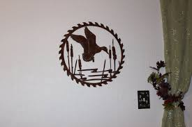 hand made duck in reeds on sawblade metal wall art country rustic