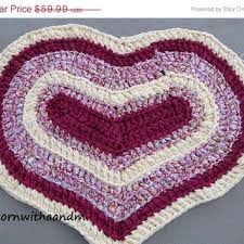 entire on love me pink and yellow crocheted heart shap heartrug ragrug