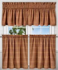 ellis curtain morrison multi colored plaid cotton tailored valance 80 x rust