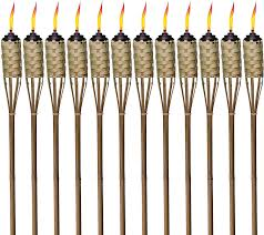 Tiki Lights Amazon Tiki Brand 1118137 Brown Easy Pour 12 Pack 57 Inch Tiki Torch Bamboo Classic Weave