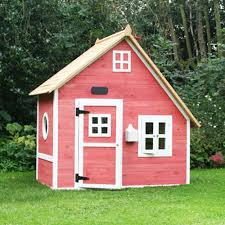 lawn garden simple modern pink painted wood garden playhouse design with rectangle pink painted wood door and square white painted wood window also