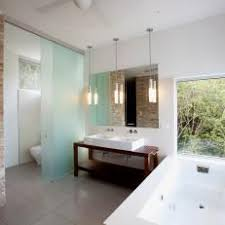 Glass room divider Smoked Frosted Glass Divider Provides Privacy In Open Bathroom K12kidzcom Photos Hgtv
