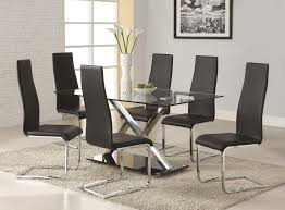 modern chrome dining room chairs with set of 4 black faux leather legs