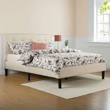 queen platform bed frame with headboard. Unique With Queen Size Taupe Beige Upholstered Platform Bed Frame With Headboard On With A
