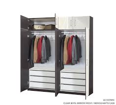 mirrored 8 door set of hanging wardrobe closets w 6 interior drawers and 14 matching storage cap toppers