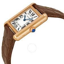 cartier tank solo silver dial brown leather strap las watch w5200024