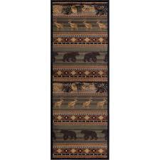 ntr6588 3x8 green brown and tan 8 foot runner rug nature