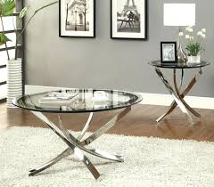 table nickel round tempered glass top chrome legs cocktail coffee table end brushed and wood