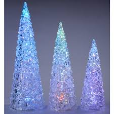 Christmas Tree With Changing Lights Set Of 3 Colour Changing Acrylic Ice Cube Christmas Trees With Led Lights