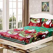 Decdeal <b>4pcs Merry Christmas</b> Gift 3D Printed Bedding Set Fitted ...