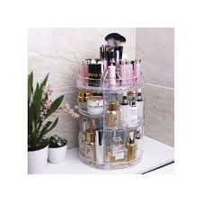 adjule diy makeup organizer 360 rotating cosmetic storage rack