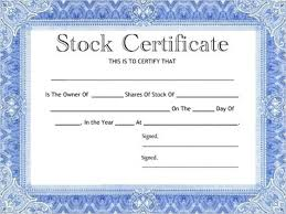 Template For Stock Certificate Blank Stock Certificates Climatejourney Org