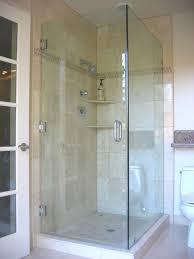 classy picture of bathroom decoration using unframed corner shower glass  doors including cream porcelain tile bathroom