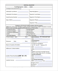 Sample Incident Reporting Form 9 Free Documents Download