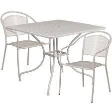 35 5 square light gray indoor outdoor steel patio table set with 2 round