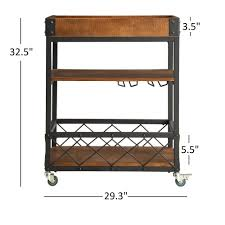 Myra II Rustic Mobile Serving Cart with Wine Inserts and Removable Tray Top  by iNSPIRE Q
