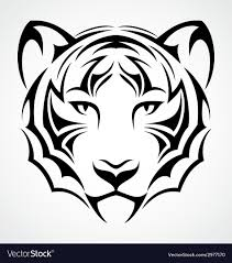 tiger face tattoo royalty free vector