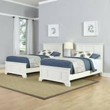 Details about Home Styles Naples Two Twin Beds 3 Piece Bedroom Set in White