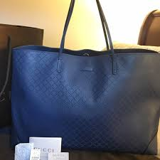 gucci tote. gucci tote bag, large blue diamante pattern!