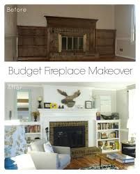 budget fireplace makeover how to paint brass fireplace doors and build a faux chimney surround