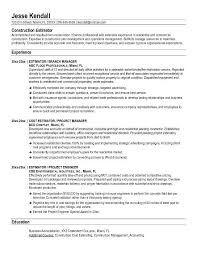 Free Construction Estimator Resume Example