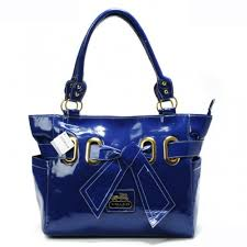 Coach Poppy Bowknot Smooth Medium Blue Totes AQR