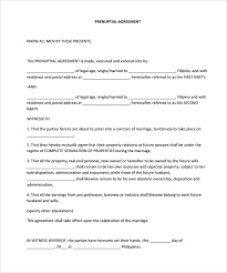 Sample Prenup Free Prenup Agreement Form Free Prenuptial Agreement Form Sample