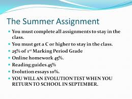 information and summer assignment meeting why you want to be in  4 the