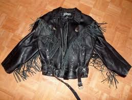 vintage la ro leather jacket with leather fringe very clean