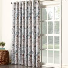 jacobean floral thermal insulated pinch pleated patio sun zero jolie auburn floral patio door thermal single curtain panel