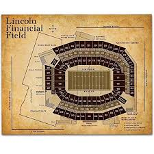 Stadium Chart Lincoln Financial Field Football Seating Chart 11x14 Unframed Art Print Great Sports Bar Decor And Gift Under 15 For Football Fans