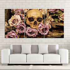 3 panel skull pink roses flowers panel wall art on canvas print poster framed un  on 3 panel wall art canvas with 3 panel skull pink roses flowers panel wall art on canvas print