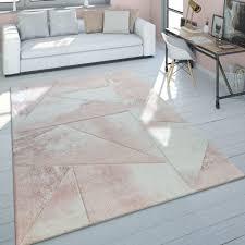 Teppich Wohnzimmer Rosa Kurzflor Pastellfarben Marmor Design Meliert 3 D Muster Grösse60x110 Cm