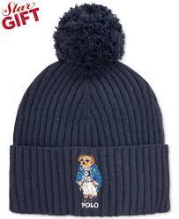 Mens Designer Hat Scarf And Gloves Set Polo Ralph Lauren Ski Bear Pom Knit Cuffed Beanie Macys