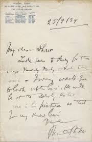 Letters Stationery Bram Stoker Autograph Letter Signed To George Bernard Shaw On