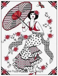 Blackwork Cross Stitch Charts Blackwork Lady With Parasol Blackwork Pattern By Lesley Teare Designs
