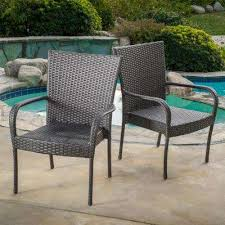 gray stackable wicker outdoor dining chair set of 2