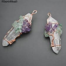 whole natural clear crystal pillar wire wrapped stone chips pendant fit fashion necklace making cute pendant necklaces diamond heart pendant necklace