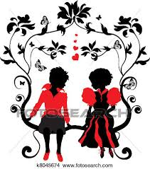 hearts silhouette clipart of silhouette little girl and boy with hearts k8045674