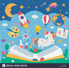 concept of kids education while reading the book open book with many supplies elements vector ilration in flat style