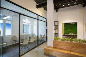 office lobby interior design. Nobody In Office Lobby With Wooden Bench Interior Design
