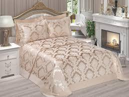 picture of luxury 6 pieces satin jacquard bedspread set beige