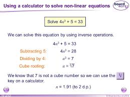 using a calculator to solve non linear equations