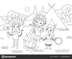 Vettore Indiani Da Colorare Per Bambini Bambini Dei Cartoni